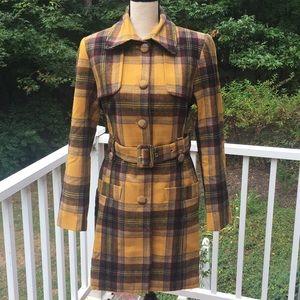 Women's Plaid Wool Trench Coat - M